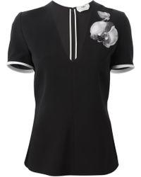 Fendi Orchid Appliqué T-Shirt - Lyst