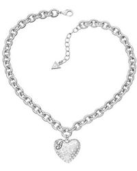 Guess - Rhodium Pendant Necklace - Lyst