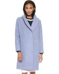 O'2nd - Slim Fit Long Wool Coat - Blue - Lyst
