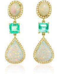 Nina Runsdorf 18K Yellow Gold, White Opal Emerald Earrings multicolor - Lyst