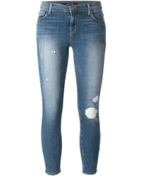 J Brand Cropped Distressed Jeans - Lyst