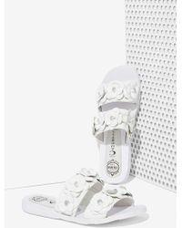 Nasty Gal Bastia Leather Sandal - White Floral white - Lyst