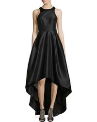 Ml Monique Lhuillier High-low Gown with Beaded Neckline - Lyst