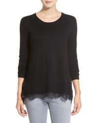 Chelsea28 Nordstrom Mixed Media Sweater - Black