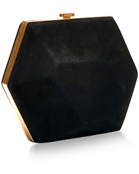 Nina Ricci Black Suede Minaudiere Diamant With Gold Closing - Lyst
