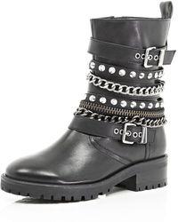 River Island Black Embellished Biker Boots - Lyst