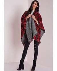 Missguided Reversible Check Blanket Wrap Multi - Multicolour