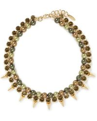 Joomi Lim - Spike Crystal Pearl Double Strand Necklace - Lyst