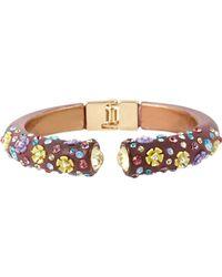 Betsey Johnson Mixed Multi Flower And Stone Crescent Hinged Bangle Bracelet - Multicolour