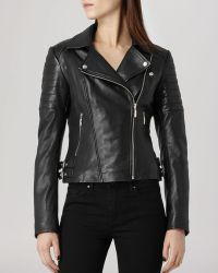 Reiss Jacket - Topaz Quilted Leather Biker - Lyst