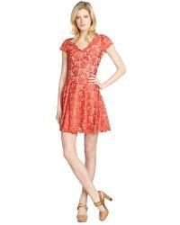 ABS By Allen Schwartz Tangerine Stretch Lace Detailed Cap Sleeve Dress - Lyst