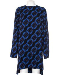 Marni Long Sleeve Crepe Viscose Sable Fantasy Blue Dress blue - Lyst