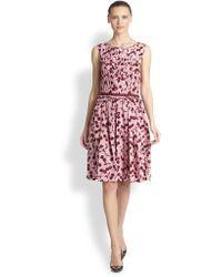 Nina Ricci Cherryprint Silk Pleated Dress - Lyst