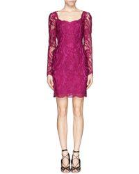 Emilio Pucci Sheer Sleeve Guipure Lace Sheath Dress - Lyst