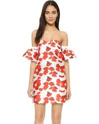 Re:named Red Petals Off Shoulder Dress