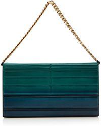 Elie Saab Quilted Calfskin Bicolor Clutch in Green Lagooncapri Blue - Lyst