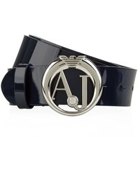 Armani Jeans Crystal Logo Patent Belt - Lyst