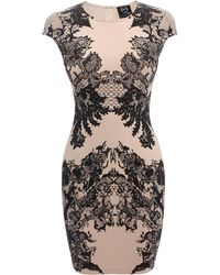 McQ by Alexander McQueen Ornate Lace Print Cap Sleeve Dress - Lyst