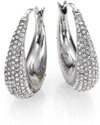 Michael Kors Brilliance Statement PavÉ Silvertone Huggie Hoop Earrings/0.9 silver - Lyst