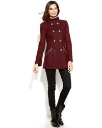 Kensie - Stand Collar Double Breasted Pea Coat - Lyst