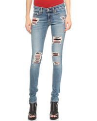 Rag & Bone The Skinny Repair Jeans  Sloane Plaid Repair - Lyst