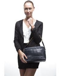 Chanel Preowned Vintage Navy Lambskin Shoulder Bag - Lyst