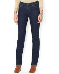 Ralph Lauren Lauren Classic Straight Leg Jeans in Rinse - Lyst