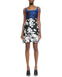 Narciso Rodriguez Scuba Jersey & Silk Floral-Print Dress - Lyst
