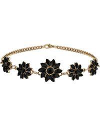 Topshop Black Stone Flower Choker - Lyst
