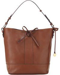 Jigsaw Large Leather Bucket Bag - Brown