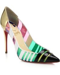 Christian Louboutin Bandy Leather, Metallic Leather & Translucent Pumps - Lyst