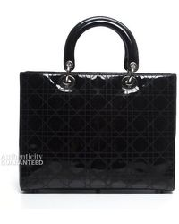 Dior Pre-owned Christain Dior Patent Leather Large Lady Dior Bag - Lyst