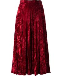 Yves Saint Laurent Vintage Velveteen Long Skirt - Lyst
