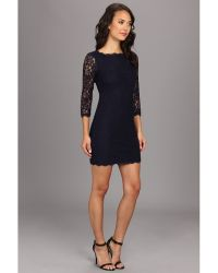 Adrianna Papell Long Sleeved Lace Dress - Lyst