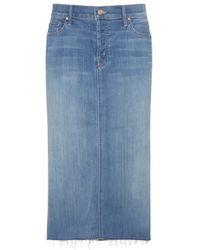 Mother Easy A Denim Skirt blue - Lyst