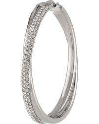 Michael Kors Collection Pave Cross Over Hoop - Lyst