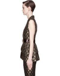 Alexander McQueen Black And Gold Peplum Vest