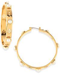 Tory Burch T-pierced Logo  Pearl Hoop Earrings Gold - Lyst