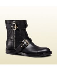 Gucci Leather Biker Boot - Lyst