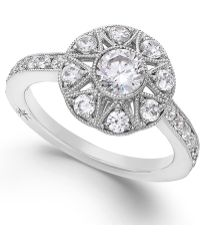 Marchesa Antique Star By Certified Diamond Round Ring In 18K White Gold (1 Ct. T.W.) silver - Lyst