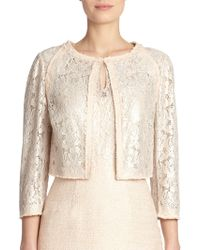 Kay Unger Tweed & Lace Jacket - Lyst