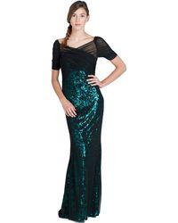Badgley Mischka Leopard Sequin Tulle Evening Gown green - Lyst