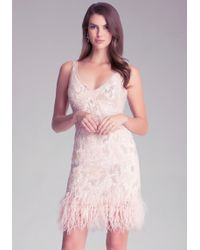 Bebe Sequin Feather Trim Dress - White