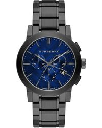 Burberry Round Stainless Steel Chronograph Watch - Lyst