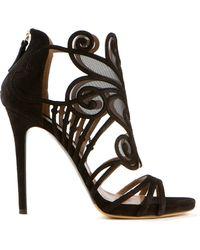 Tabitha Simmons Black Suede Aura Sandals - Lyst