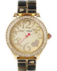 Betsey Johnson Ladies Gold And Black Link Bracelet Watch