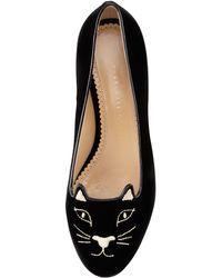 Charlotte Olympia Kitty Cat-Face Velvet Skimmer black - Lyst