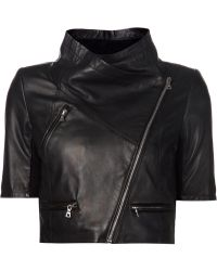 Yigal Azrouël Cropped Leather Jacket black - Lyst