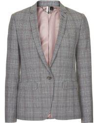 Topshop Premium Check Suit Blazer - Lyst