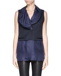 Haider Ackermann Silk Drape Neck Wool Blend Vest Blouse Combo - Lyst
